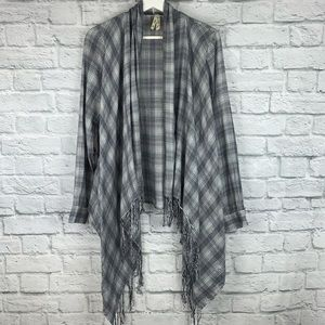 Plaid Open Front Waterfall Fringe Cardigan M